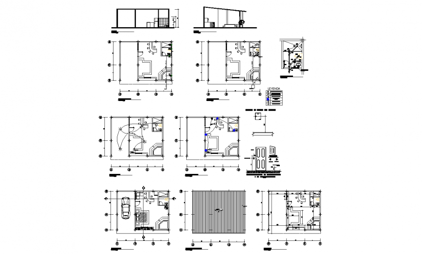 Small house elevation, section, plan and door details dwg file