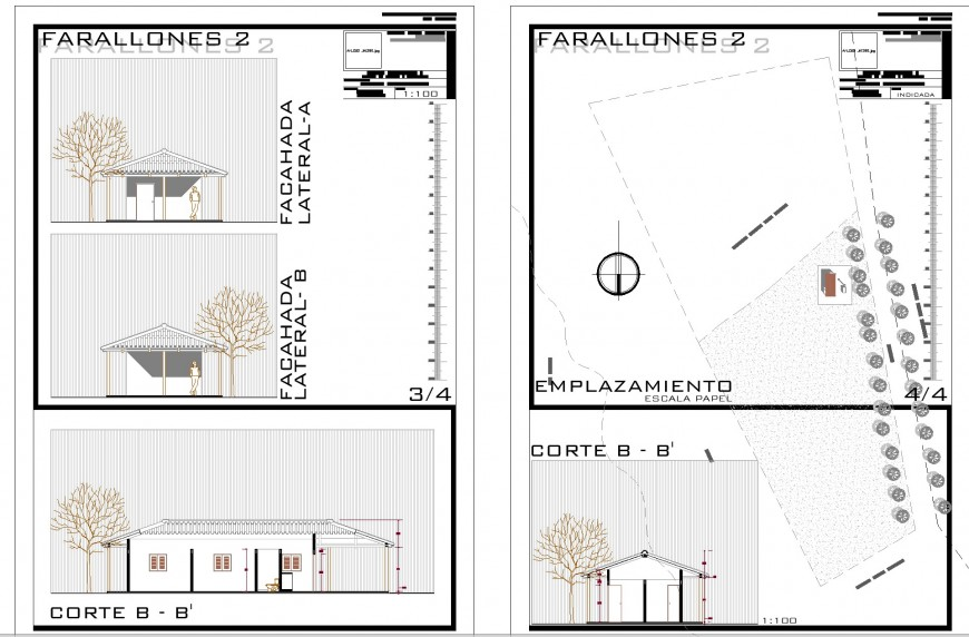 Small house elevation and section layout file