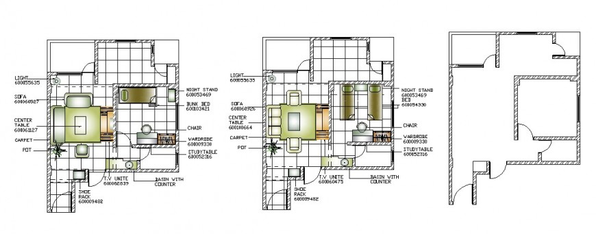Small house general layout plan and furniture layout cad drawing details dwg file