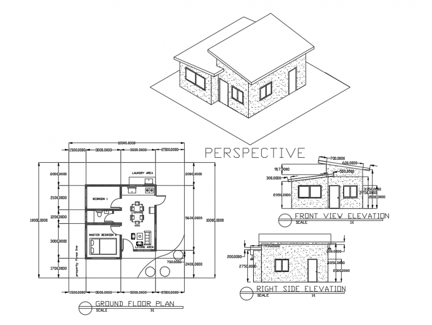 Small house left, right and perspective elevation with ground floor plan details dwg file
