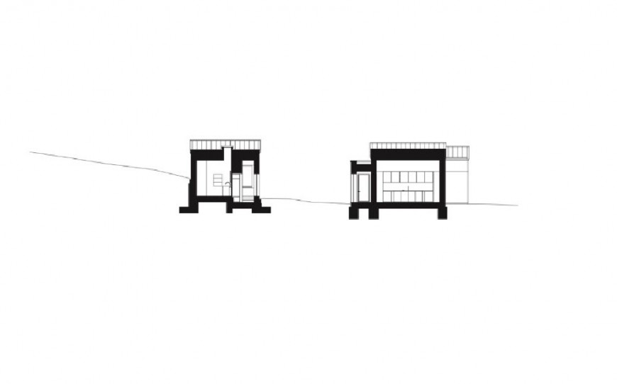 Small house main and back section cad drawing details jpg file