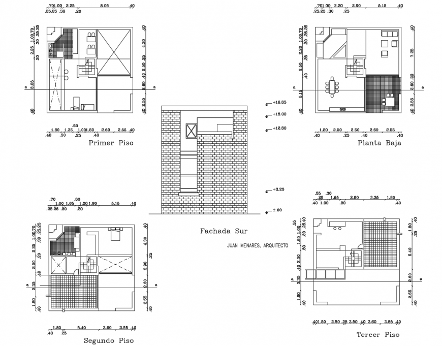 Small house main elevation and floor plan distribution cad drawing details dwg file