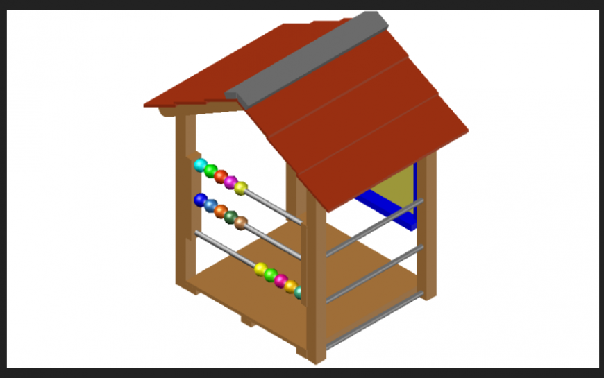 Small house or cottage area design in the 3d dwg file