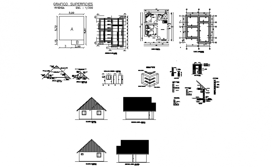 Small house plan, elevation and section detail dwg file