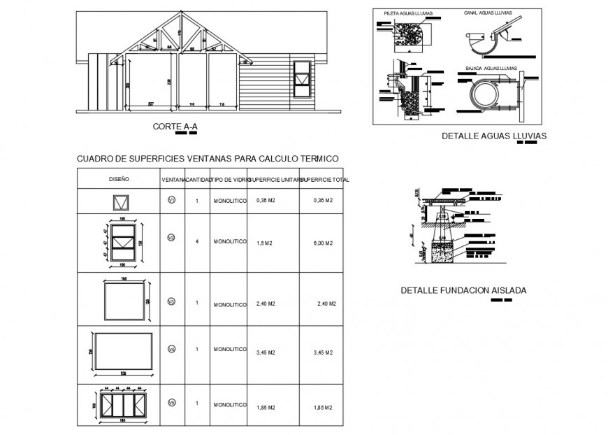 Small house section, windows surfaces, rain water and auto-cad details dwg file