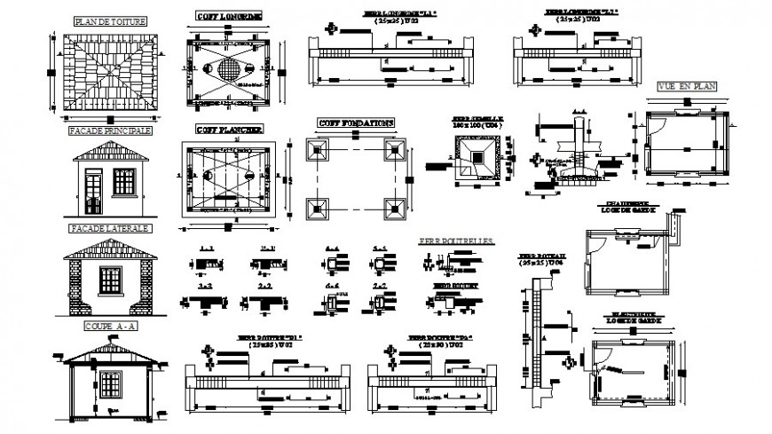 Small hut elevation and section drawing with other construction units in autocad