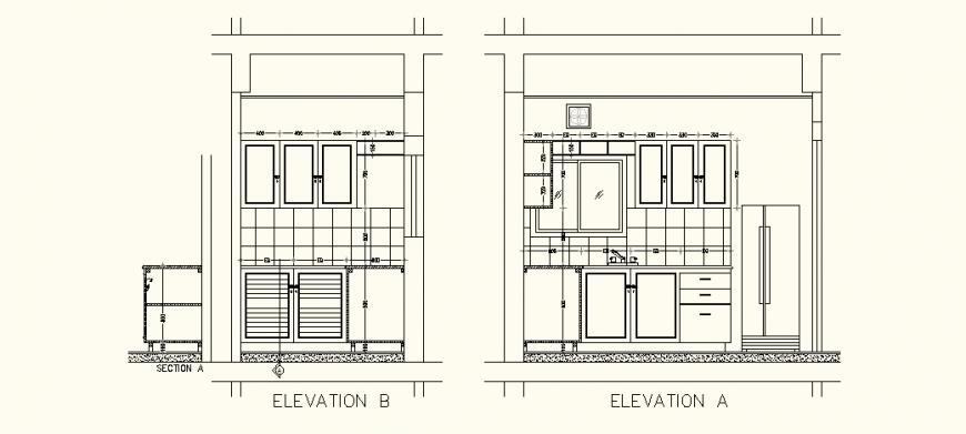 Small kitchen elevation detail drawing in dwg AutoCAD file.