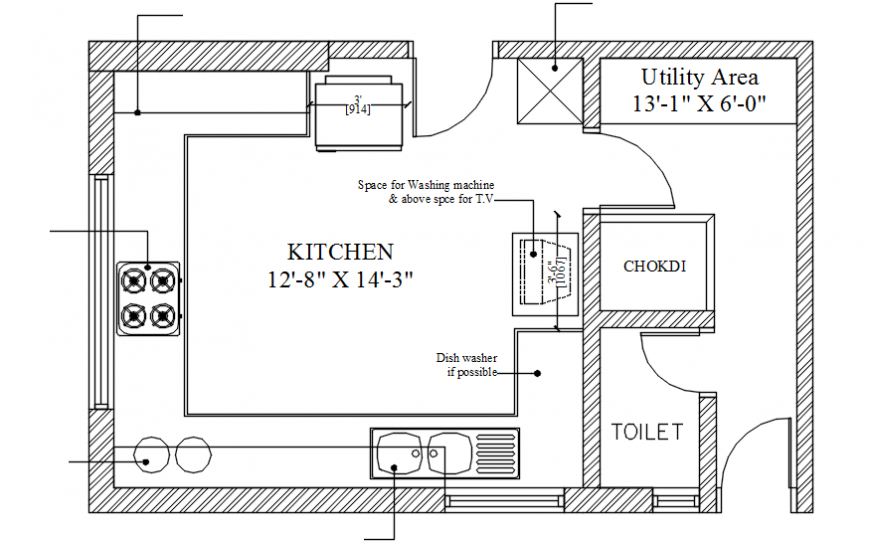 Small kitchen top view layout plan with toilet and furniture cad drawing details dwg file