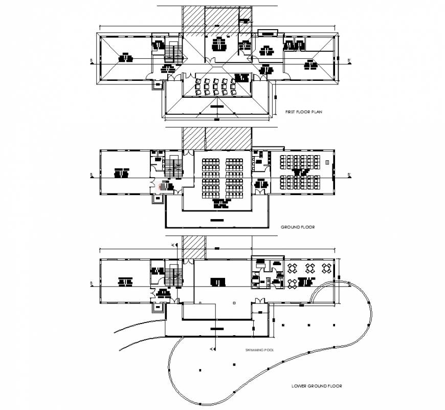 Small library building drawing in dwg file.