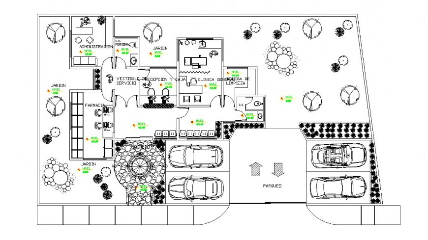 Small local clinic distribution layout plan cad drawing details dwg file