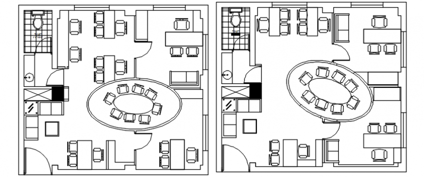 Small local offices layout plan with furniture cad drawing details dwg file