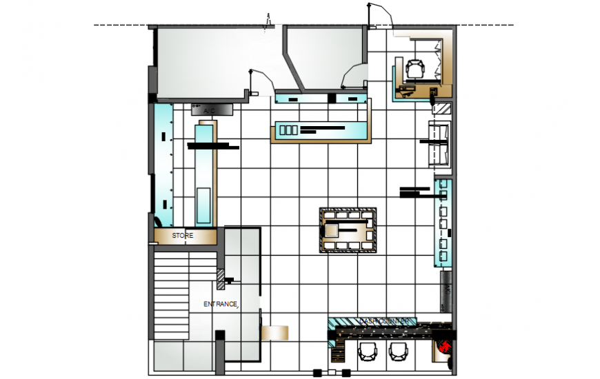 Small office layout plan with furniture layout cad drawing details dwg file