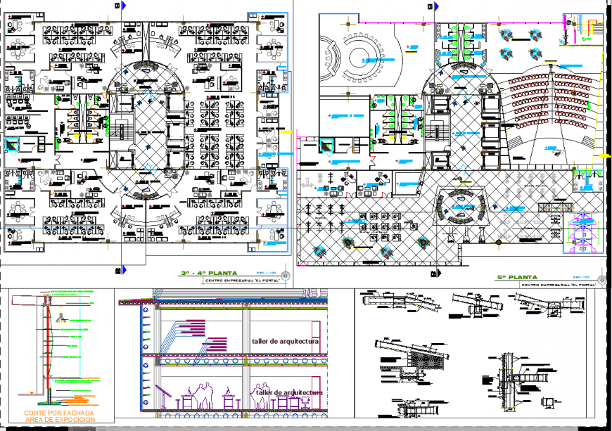 Small office plan and section autocad file