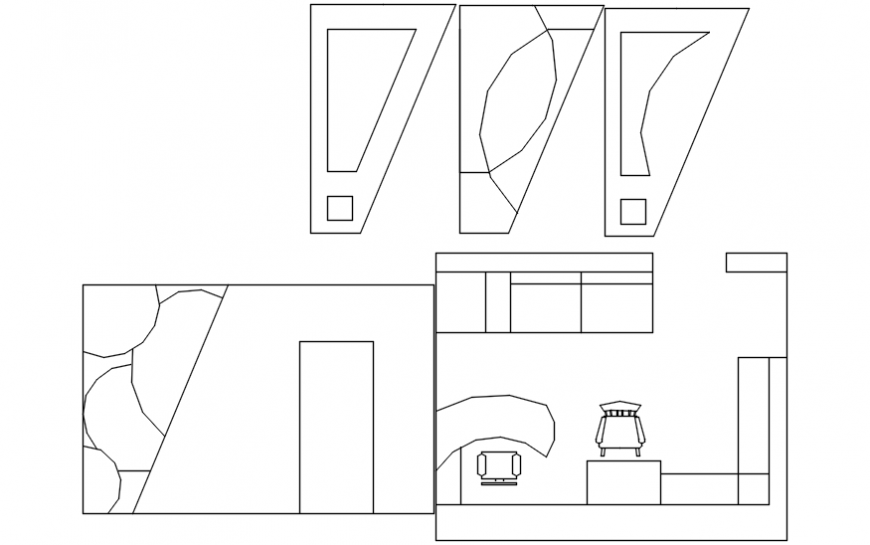 Small office room plan drawings detail 2d view autocad file