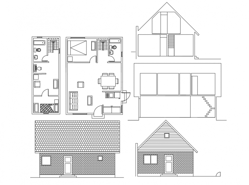 Small one family house elevation, section and plan details dwg file