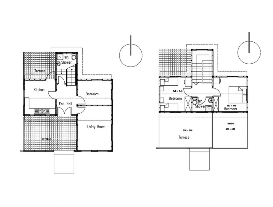 Small one family house layout plan cad drawing details dwg file