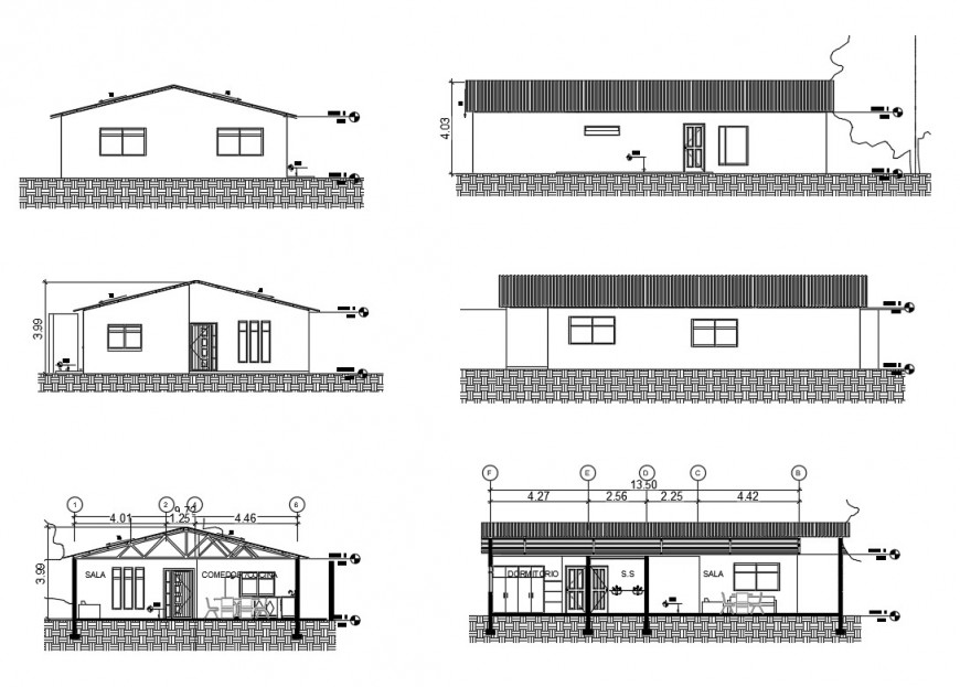 Small one story house elevation and sectional details dwg file