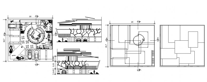 Small restaurant building working plan detail drawing in autocad