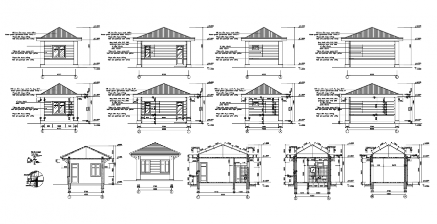 Small roof house all sided elevation and section drawing details dwg file