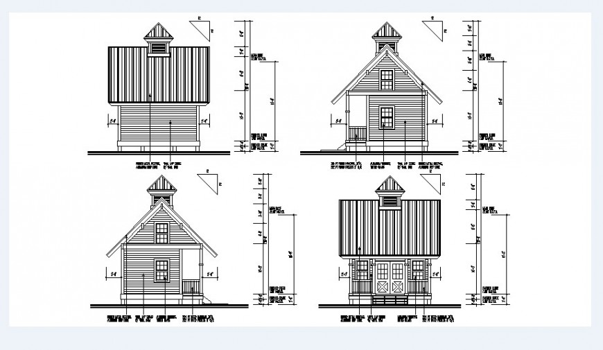 Small roof house all sided elevation cad drawing details dwg file