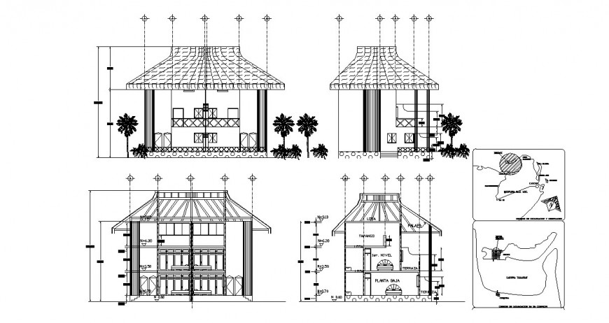 Small roof house elevation and section cad drawing details dwg file