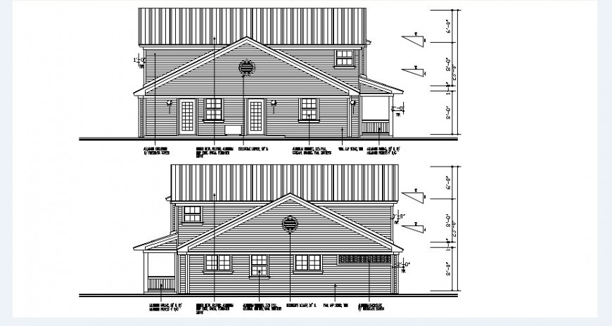 Small roof house front and rear elevation cad drawing details dwg file