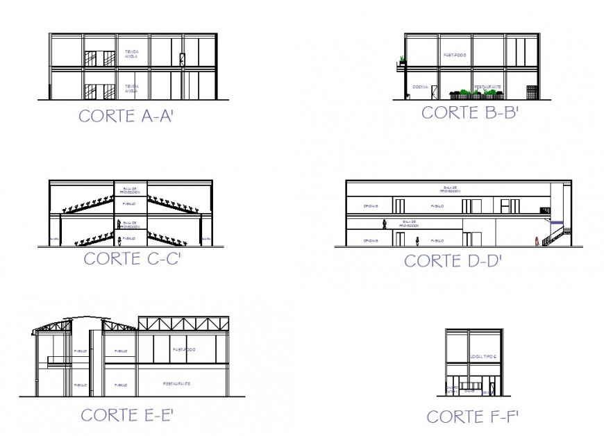 Small school section plan autocad file