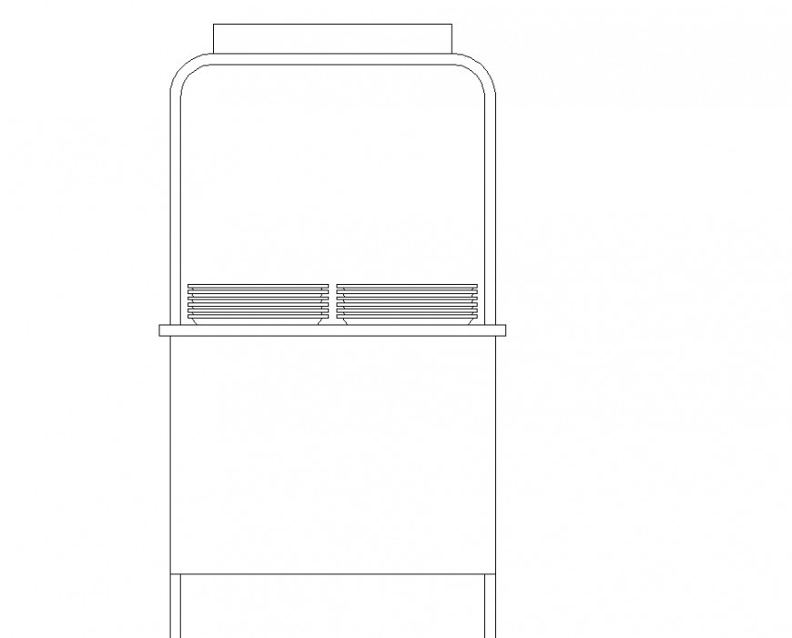 Small service platform furniture block drawing in dwg file.