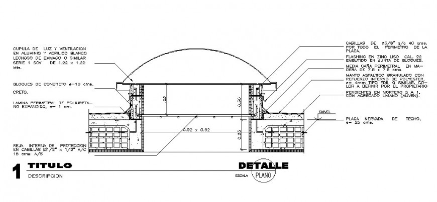 Small shelter house type constructive section cad drawing details dwg file