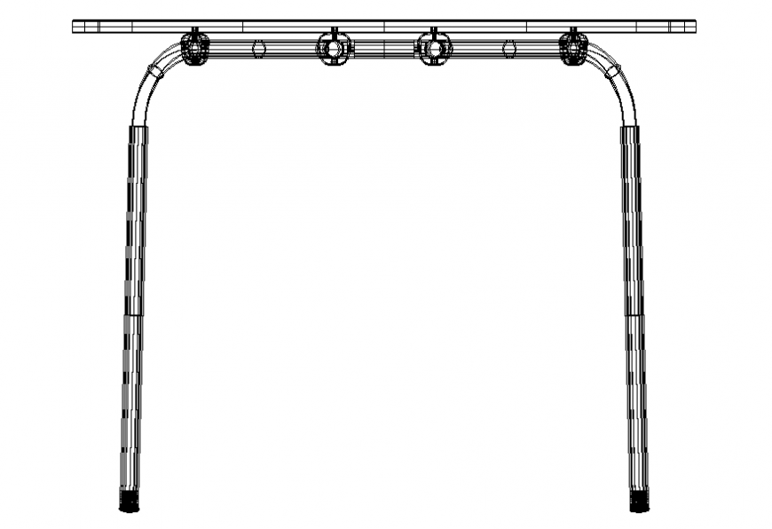 Small sofa steel framing 2 d autocad file