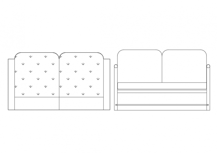 Small sofa top view elevation cad block details dwg file