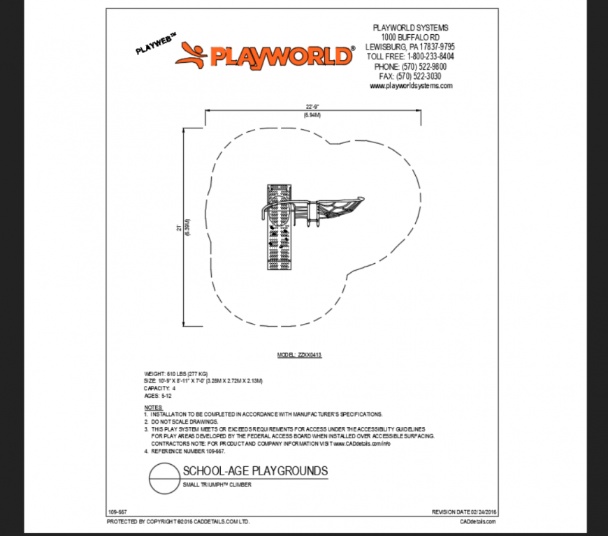 Small triumph climber play equipment details of school park dwg file