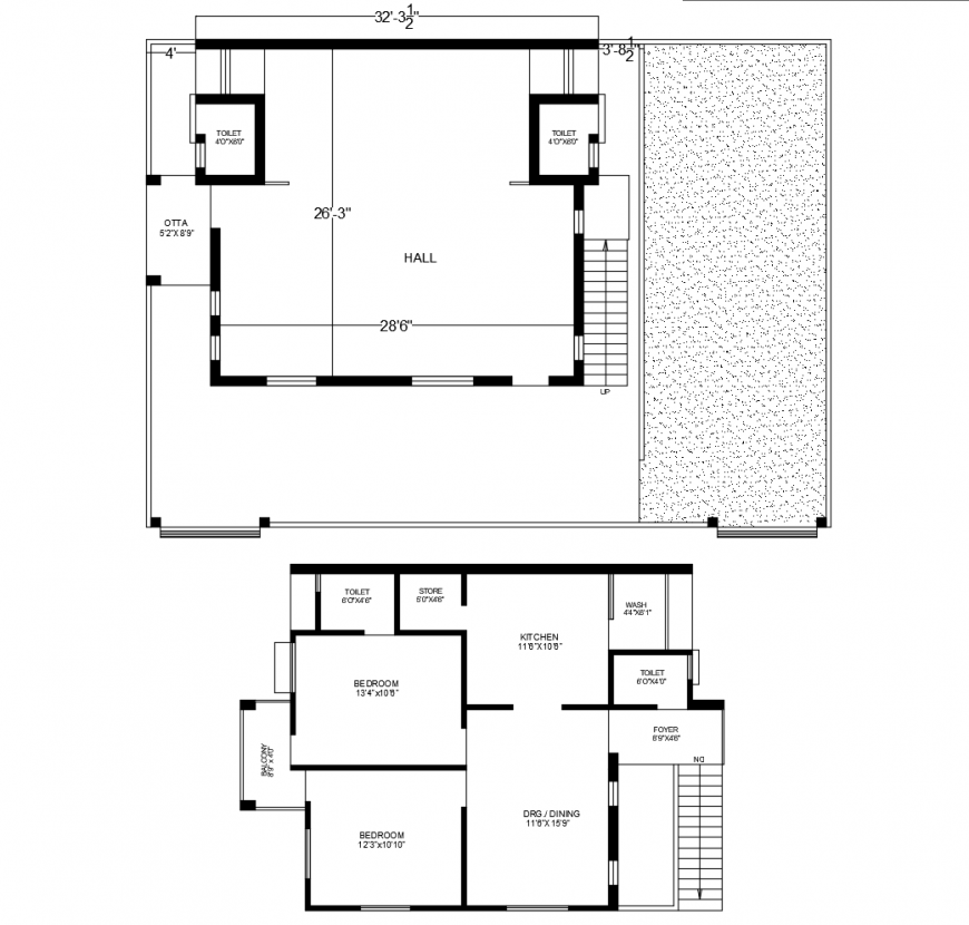 Small two-story house ground and first floor plan drawing details dwg file