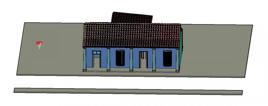 Small village house 3d model cad drawing details dwg file