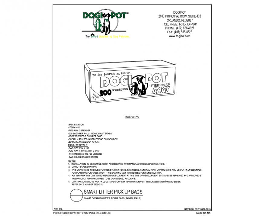 Smart litter pick up dogipot dispenser bag cad block details dwg file