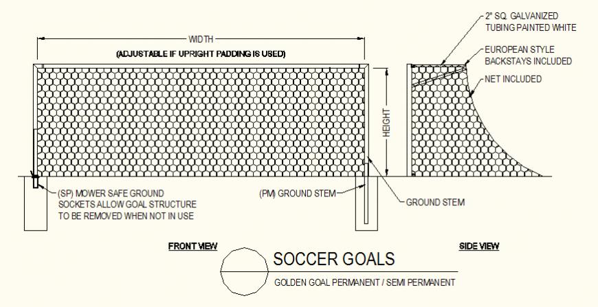 Soccer-goal net detail elevation layout plan