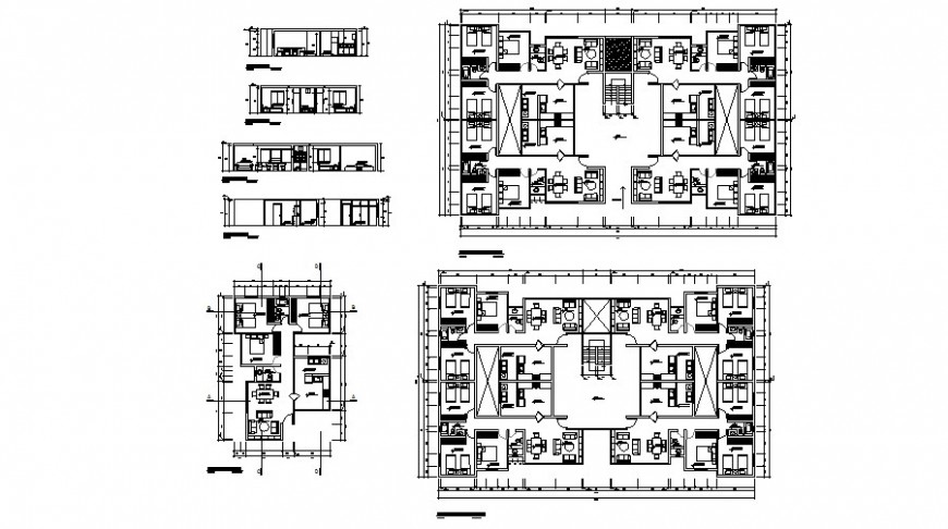 Social multi-family housing building section and plan cad drawing details dwg file