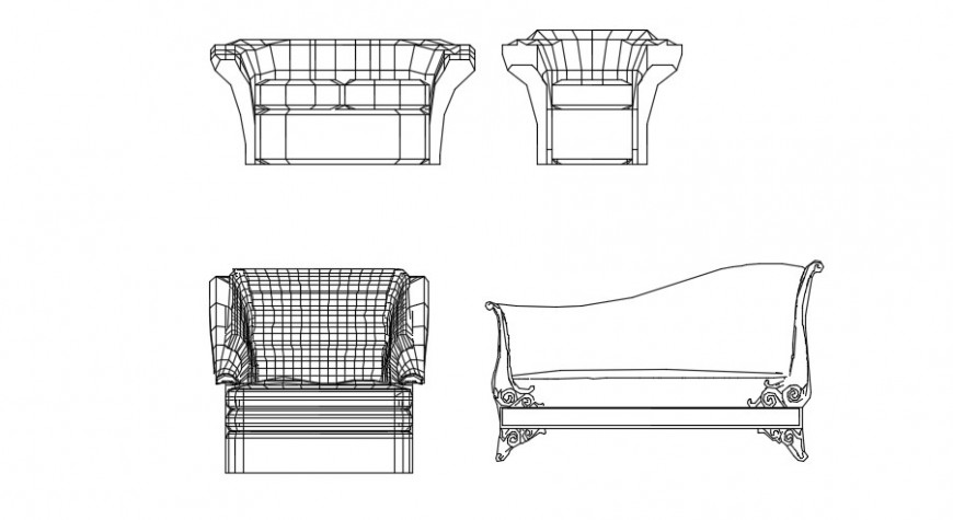 Sofa chair and designer sofa detail 2d dwg file