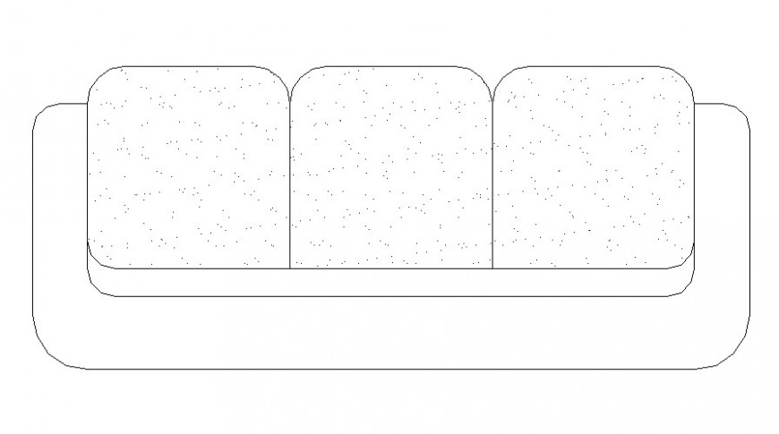 Sofa set three seated top view cad drawing details dwg file