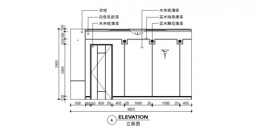 Solid wood decoration living room cad elevation drawing details dwg file