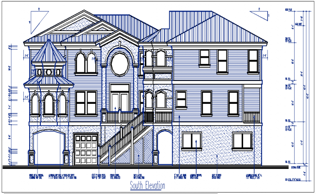 south elevation with design details dwg files