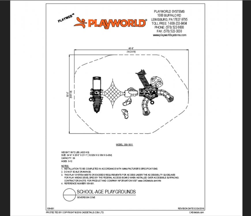 Soverign cove school theme park top view model structure details dwg file