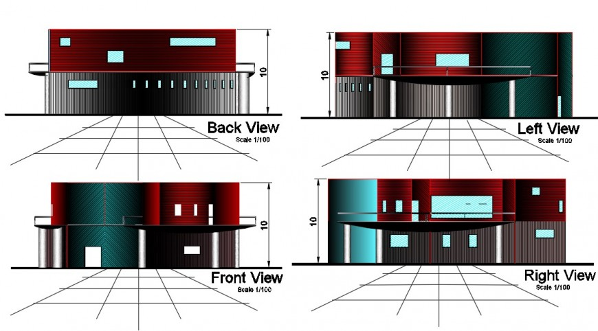 Space center front, back, right and left side elevation cad drawing details dwg file