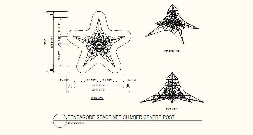 Space net climber center post detail plan and elevation layout file