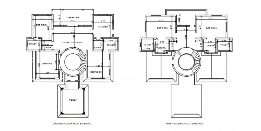 Spacing concept of House plan details dwg file