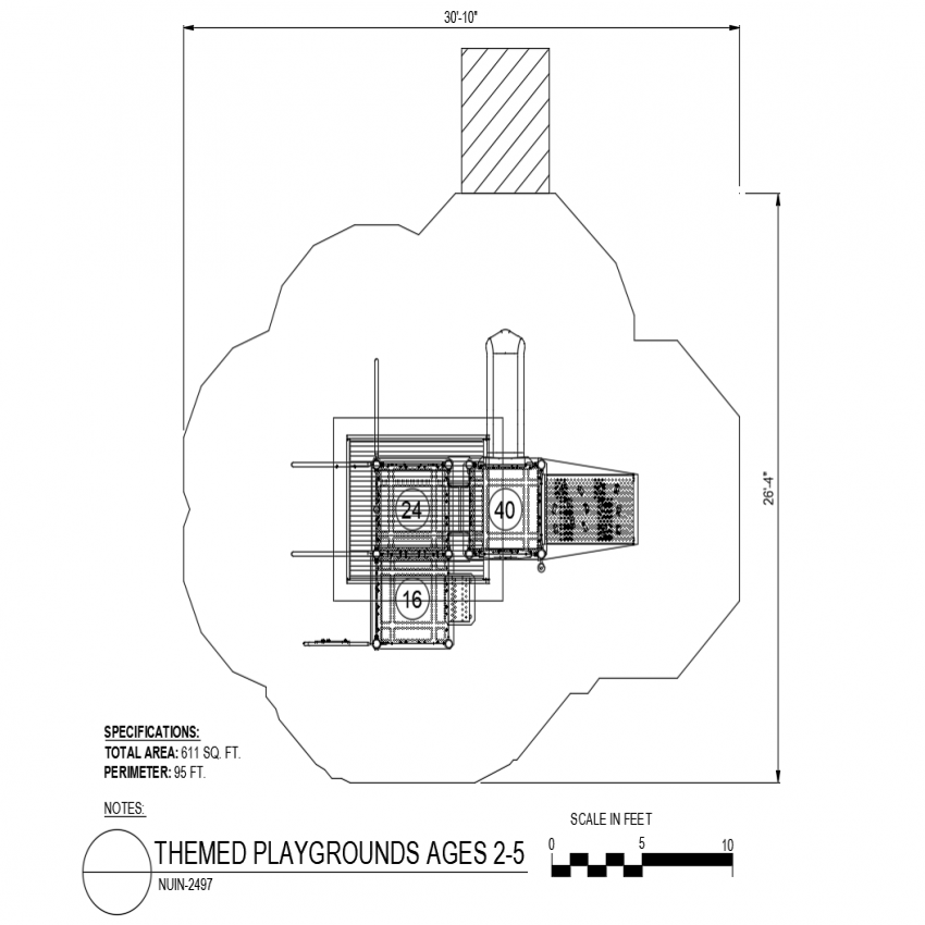 Specification detail for plan of themed play ground dwg file