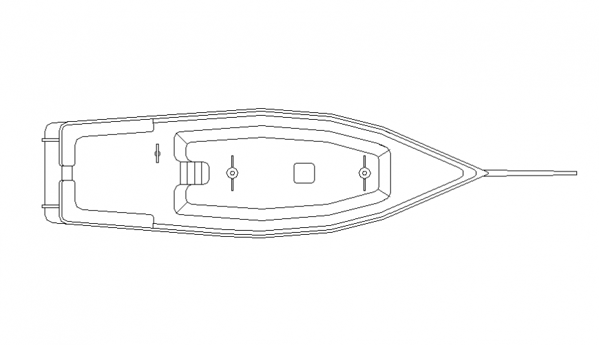 Speed boat top view elevation cad block details dwg file
