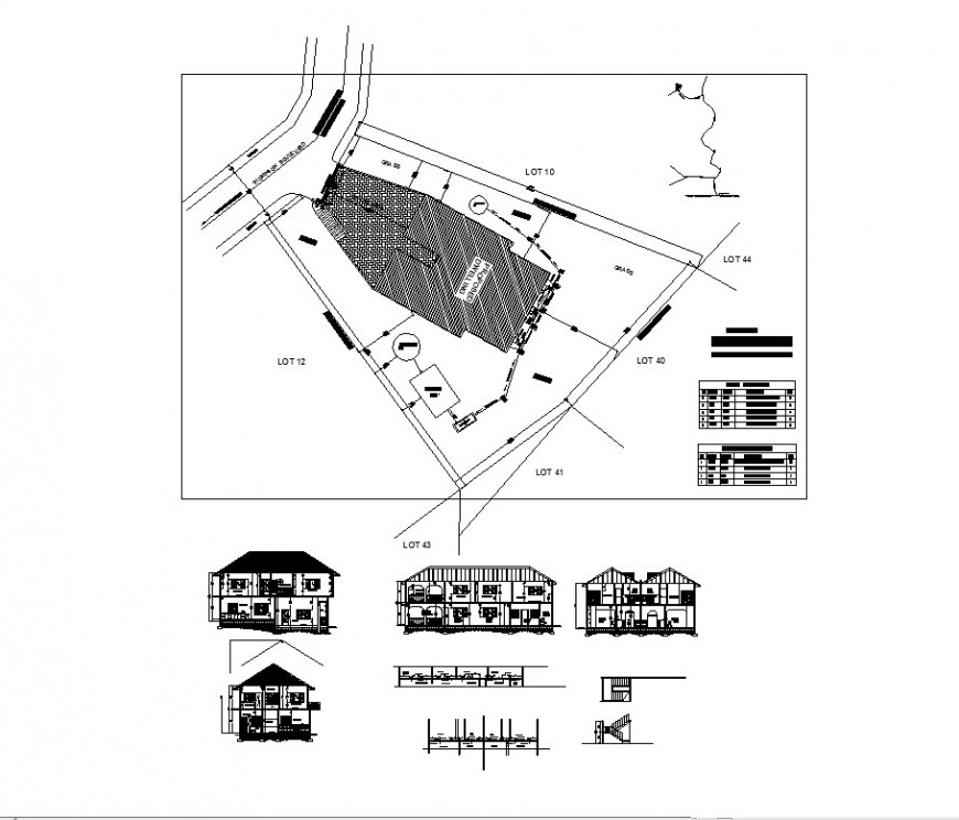 Split family house elevation, section, plan and auto-cad drawing details dwg file