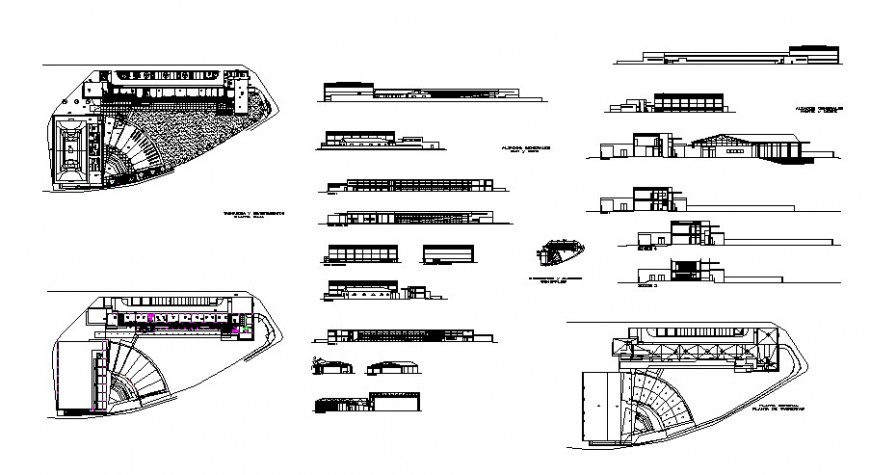 Sport center building elevation, section, floor plan and auto-cad drawing details dwg file