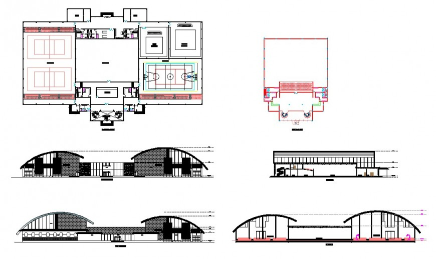 Sport center building plan and elevation 2d view CAD block layout dwg file